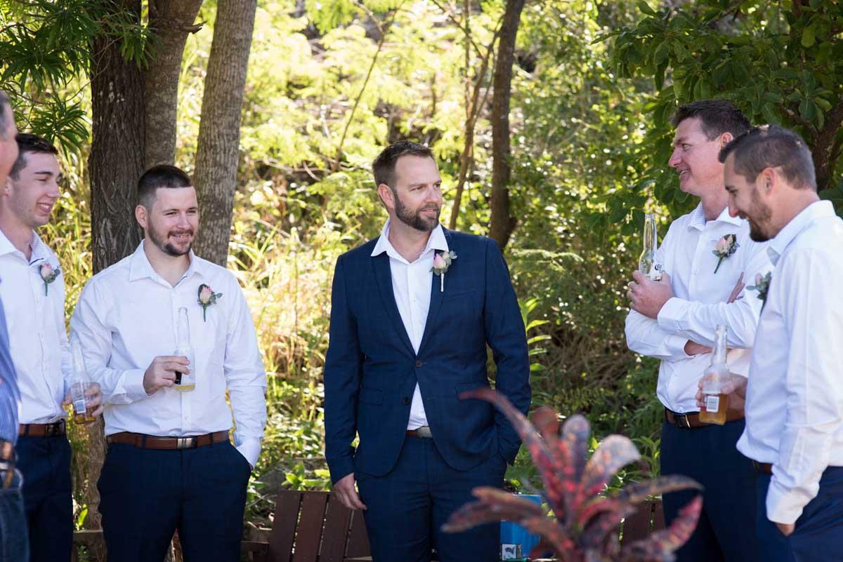 Groomsmen before the wedding ceremony at Earlando in North Queensland