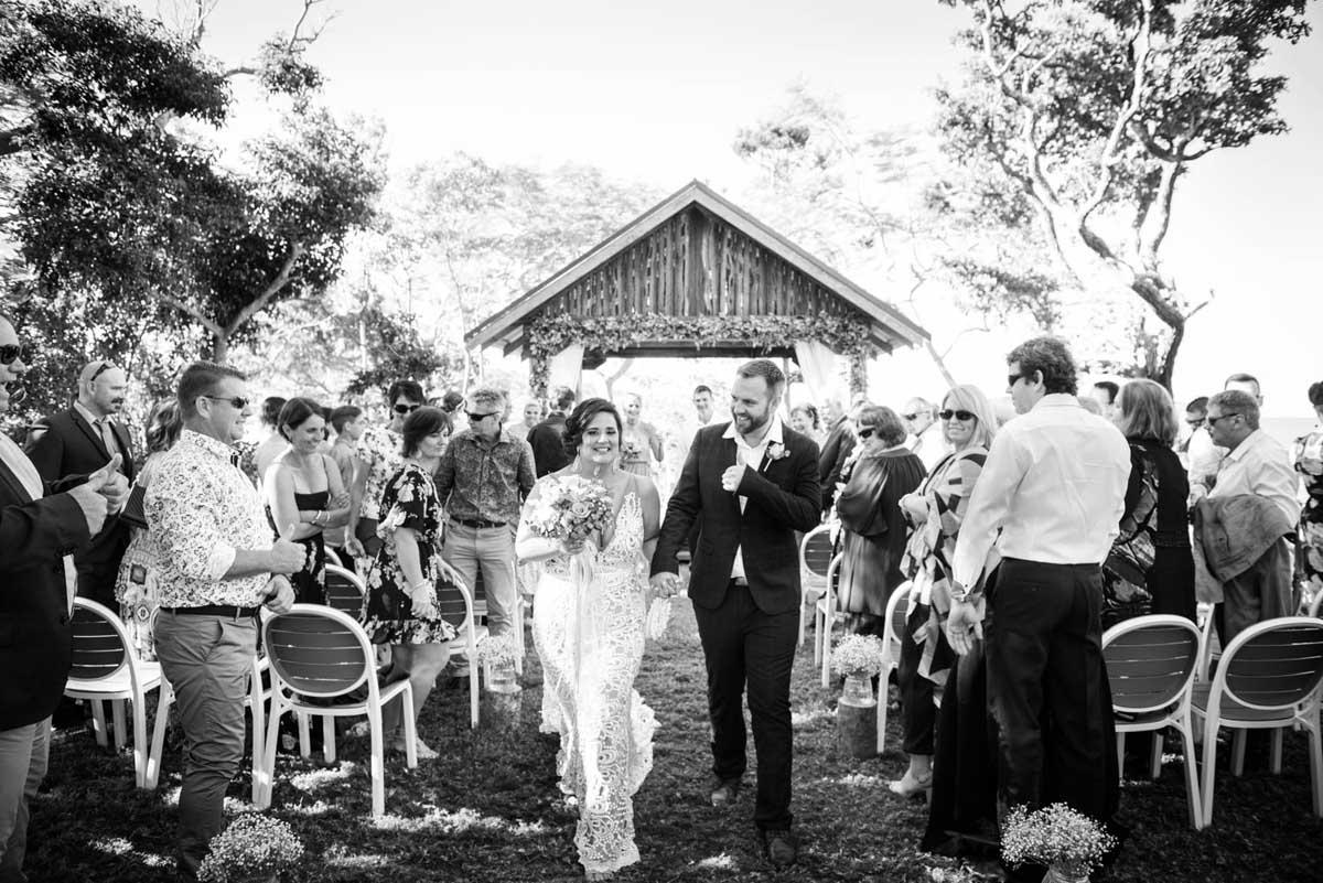 Bride and groom exiting their Earlando wedding ceremony