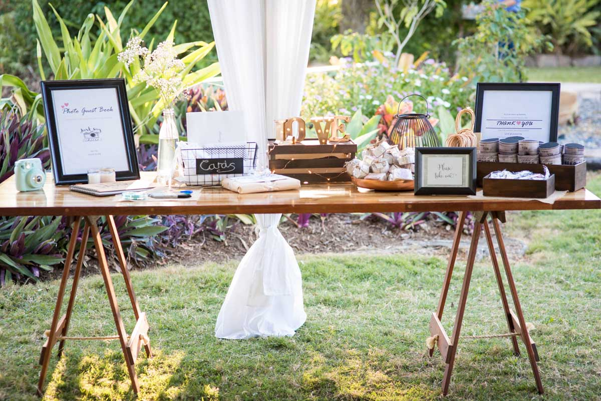 Gift and guest book table at a wedding