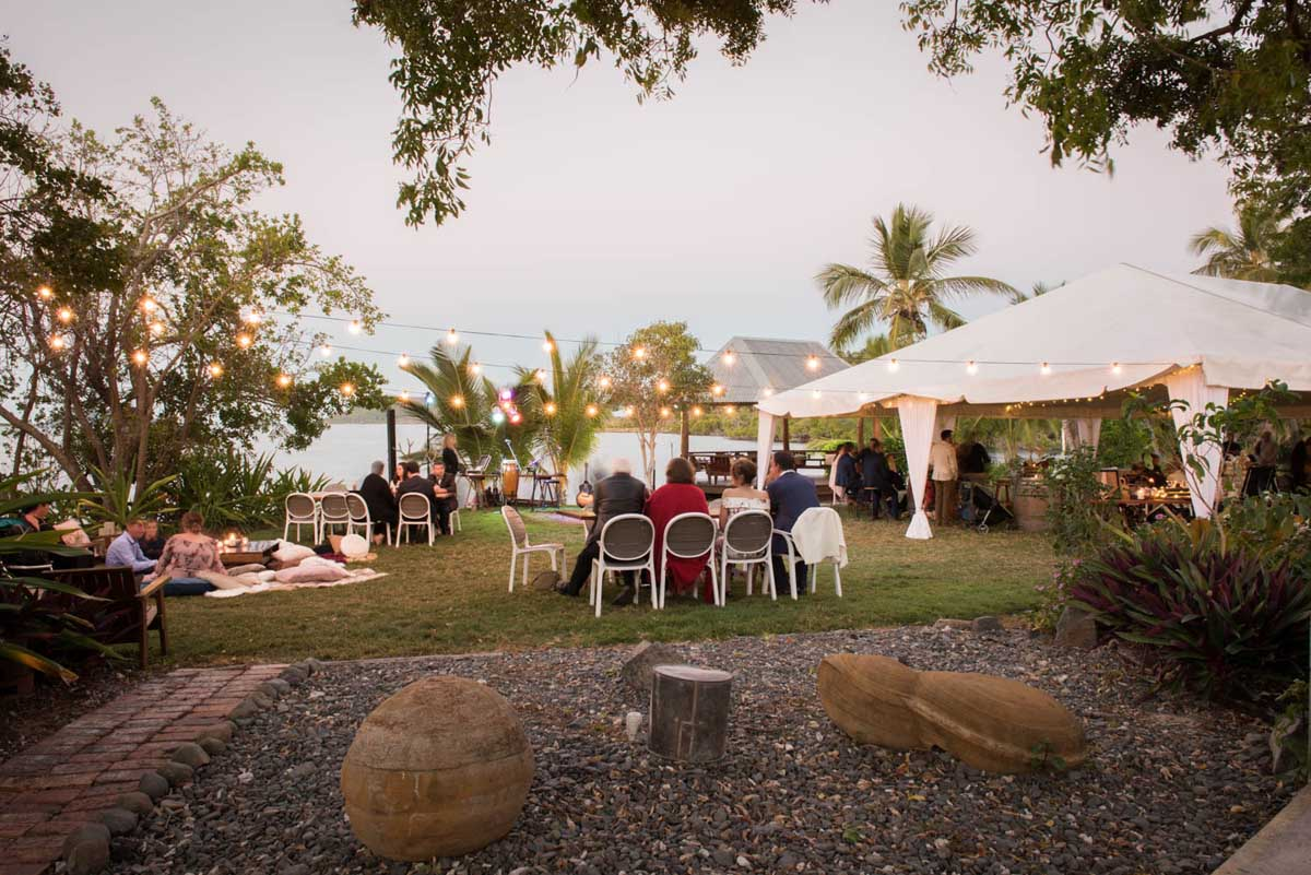 Marquee wedding reception with ocean views at Earlando Whitsundays